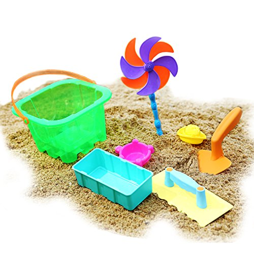 Zooawa Beach Sand Toy Set, Sand Brick Building Set with Windmill, Trowel, Pail, 7 Piece Funny Kids Toddlers Colorful Beach Bucket Set