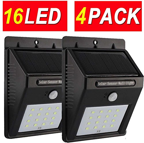 Solar Motion Sensor Light Outdoor 16 LED Home Security Lights Wall Lamp Deal of The Day Prime Today Sogrand Wireless Waterproof Bright Garage Lighting for Path Patio Deck Fence Pathway Driveway 4Pack Prima Light