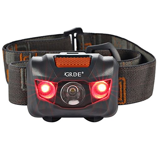 Headlamp LED Headlight 4 Mode Outdoor Flashlight Torch with Dimmable White Light Steady Red Light Adjustable and Water Resistant for Camping Hiking Walking Reading and More (3AAA Batteries Included)