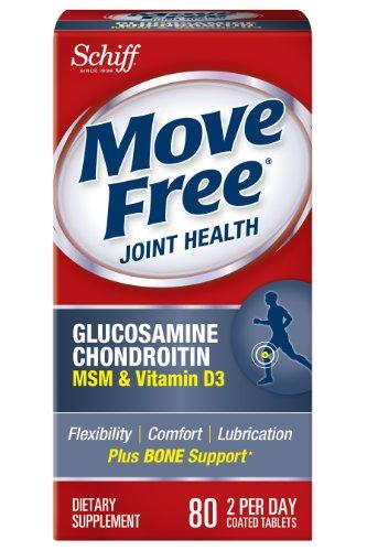 Déplacez Supplément gratuit glucosamine chondroïtine MSM vitamine D3 et mixte acide hyaluronique, 80 comte