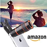 Robix 8x Lens Universal Optical Zoom Camera With Adjustable Clip Mobile Phone Lens {Compatible With All Leading Android, IOS, And Windows Smart Phones} - Random Colour