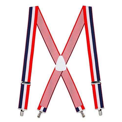 Suspender Store Mens Red/White/Blue Striped Clip Suspenders - 1.5 Inch (Red White And Blue Suspenders)