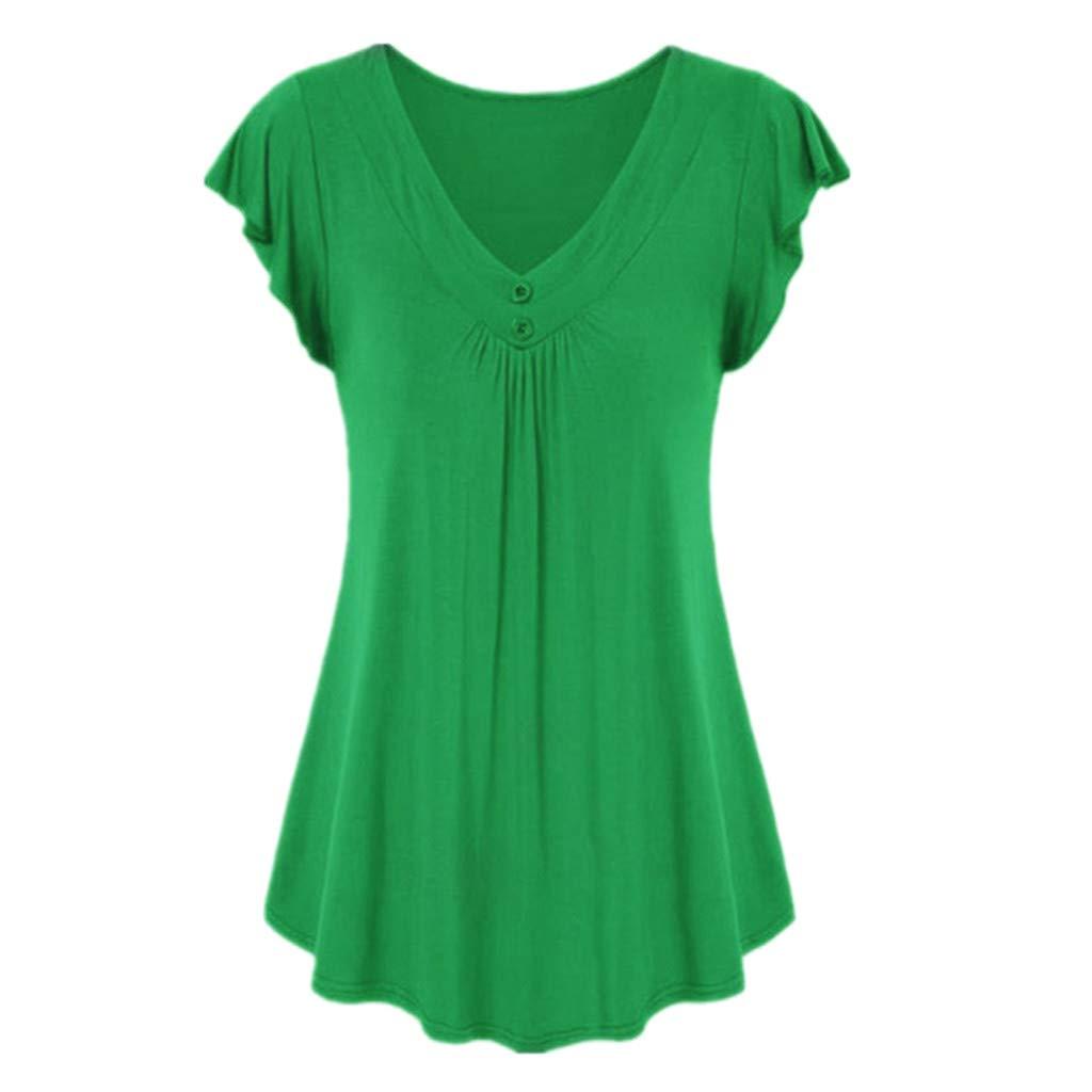 Zackate Women's Casual Solid Color V-Neck Short Sleeve Shirt Cotton Swing Tunic Hem Tank Tops Blouse T-Shirts Green by Zackate_Women Sweatshirts (Image #1)