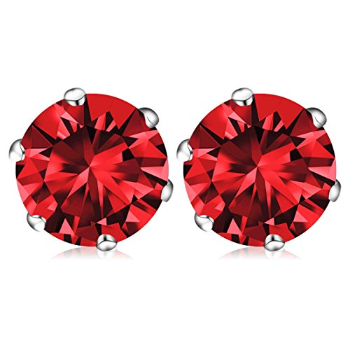 January Birthstone Stud Earrings, Swarovski Element AAA Cubic Zirconia Stainless Steel Earrings for Women Girls (Garnet)