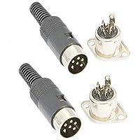 6 Pin DIN Male Plug + Female Adapter Socket Panel Mount AV Solder 6 pin din Connector Set of 2