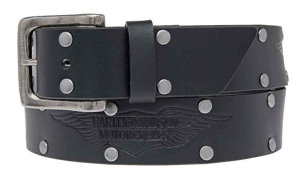 Harley-Davidson Mens Speed Bump Belt Studded Black Leather Belt HDMBT11033-BLK