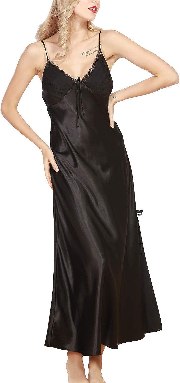 YAOMEI Camicia da Notte Donna Lungo Pigiama Pigiami Raso Luxury della Biancheria della Cinghia di Spaghetti Babydoll Chemise Camicia da Notte
