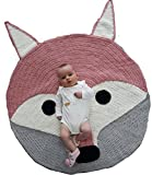 Fox Playmat Handmade From Softest Cottons for Baby in Fun Designs Crochet Blanket (Blush Pink)