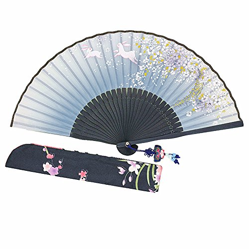Wise Bird Hand Held Folding Cooling Fan F708 (Design 2018) Japanese Chinese Handheld Silk Breeze Pocket Fan For Women,Outdoor Wedding Party Decorations with Silk Pouch and Embroidery.Gifts for Women
