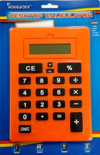 8 Digit Caculator Bright Color Large - Battery 8.2 24 pcs sku# 1865072MA by A+Homework