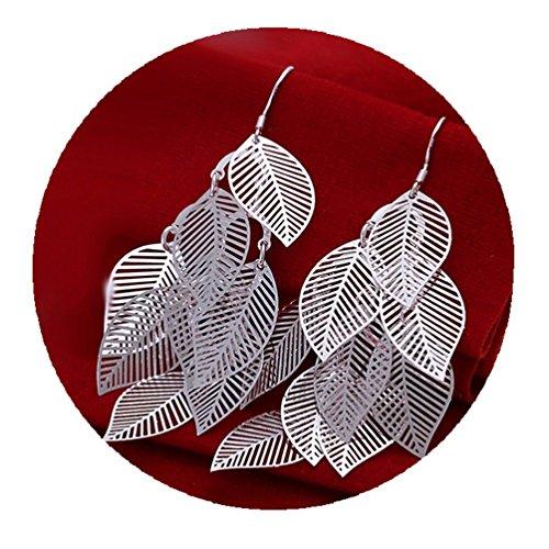 One Pair Unique Bohemia Nine Leaves Long Fashion Dangle Earrings For Girls Silver