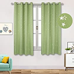 "BGment Room Darkening Curtains for Kid's Room- Silver Star Foil Printed Window Drapes for Bedroom, Grommet, 2 Panels (52"" Wx63 L Each Panel,Green)"