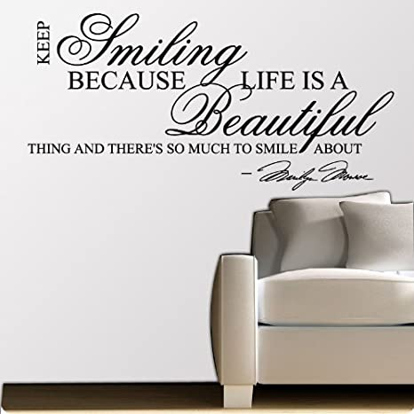 Marilyn Monroe Keep Smiling Wall Sticker Decal Quote Art Mural
