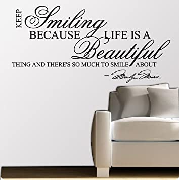 Marilyn Monroe Keep Smiling   WALL STICKER DECAL QUOTE ART MURAL Large Nice