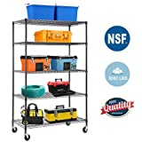 "5-Wire Shelving Unit Steel Large Metal Shelf Organizer Garage Storage Shelves Heavy Duty NSF Certified Commercial Grade Height Adjustable Rack 5000 LBS Capacity on 4"" Wheels 24""D x 48""W x 76""H,Black"
