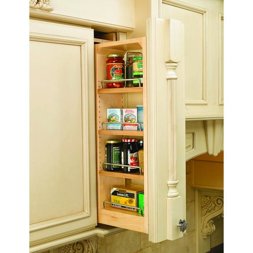 Rev-A-Shelf 432-WF-6C 6'' Wall Filler Pull-Out with Adjustable Shelves, Natural