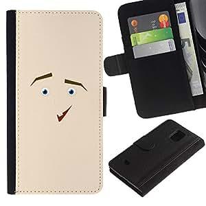 LECELL--Cuero de la tarjeta la carpeta del tirón Smartphone Slots Protección Holder For Samsung Galaxy S5 Mini, SM-G800 -- CARA GRACIOSA --