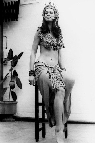 Valerie Leonfull length in costume Blood From The Mummy's Tomb sitting on chair on set Hammer Horror 24x36 Poster Mummy Chair