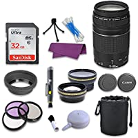 Canon EF 75-300mm f/4-5.6 III Telephoto Zoom Lens & SanDisk 32GB Memory Card for Canon EOS 70D Digital SLR Camera