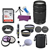 Canon EF 75-300mm f/4-5.6 III Telephoto Zoom Lens & SanDisk 32GB Memory Card for Canon EOS 80D Digital SLR Camera