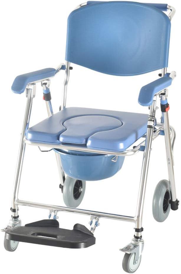 MY1MEY Commode Chairs Commode Silla móvil Silla para Inodoro con Asiento con Ruedas Silla de Ruedas Ducha Silla de Transporte Silla móvil Plegable para baño Taburete para Inodoro Anciano discapacit