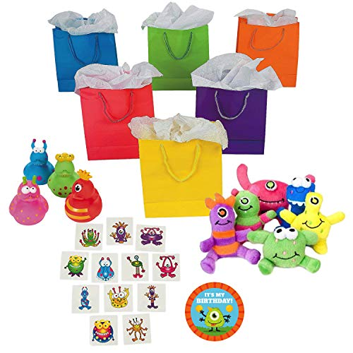 Little Monster Birthday Party Supplies, Favor Kit with Bags for 12 Guests]()