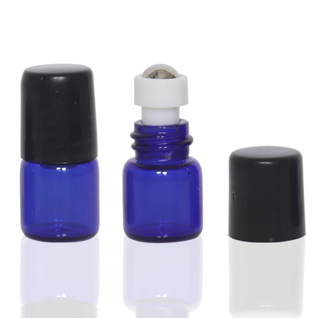 20 Pack Set 1ML Mini Cobalt Blue Sample Roll Glass Bottles for Essential Oils Roller Refillable Perfume Roll Bottle