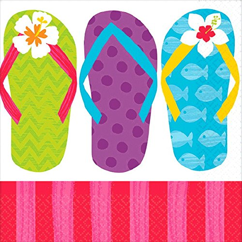 Another Dream Flip Flop Tropical Luau Hawaiian Summer on The Beach MEGA Deluxe 238 Piece Party Supply Pack for at Least 50 Includes 60 Plates, 125 Napkins, 50 Cups, and 3 Tablecovers! by Another Dream (Image #3)