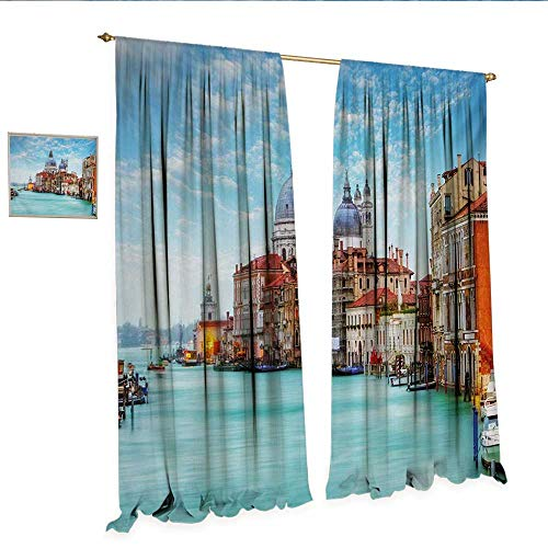 ustomized Curtains Grand Canal and Basilica Santa Maria Della Salute Historical Architecture Thermal Insulating Blackout Curtain W84 x L96 Blue Turquoise Orange.jpg ()