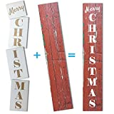 Extra Large 50 inch MERRY CHRISTMAS STENCIL for Painting on Wood | Ideal for Vertical Porch Sign (Rustic Holiday Entrance Sign)