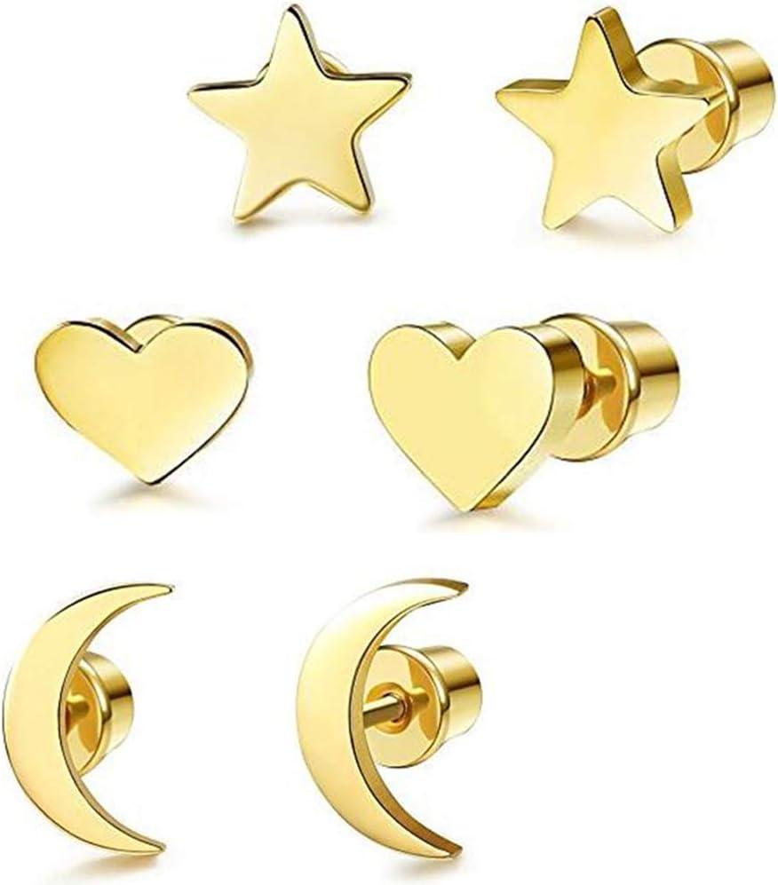 Fu You Pendientes de Acero Inoxidable 3 Pares Aretes de Estrella Luna y Coraz/ón de Las Peque/ños Pendientes para Mujer Hombre Oro