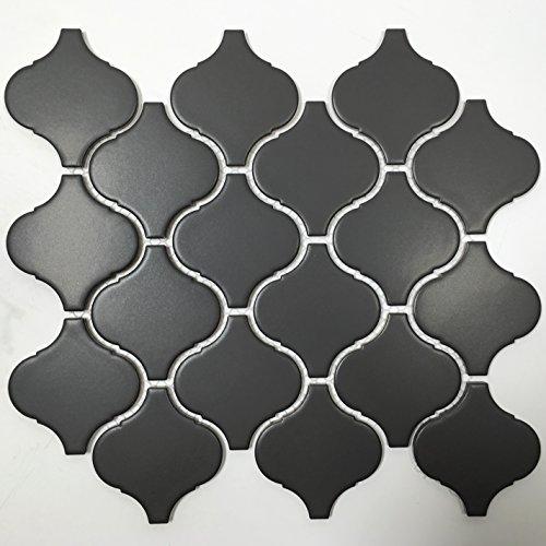 - Arabesque 11 in. x 9.5 in. x 6 mm Glazed Porcelain Mesh Mounted Matte Mosaic Tile (11 pcs / case) (BLACK)
