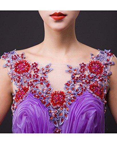 V Emily Rüschen SpitzeApplique Violett besetzte Kugel Ausschnitt Maxi Dreischicht Hochzeitskleider Beauty fw7qUZB