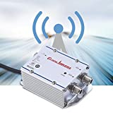 Richer-R TV Signal Amplifier, Standard AC 220V 2-Way CATV Signal Amplifier Video Assistor Splitter Adapter with Low Noise Current Design