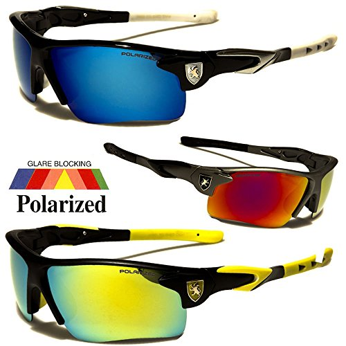 New Polarized Mirror Lens Mens Fishing Cycling Baseball Sport Wrap Sunglasses US / Black W - Sunglasses Headphones Zungle