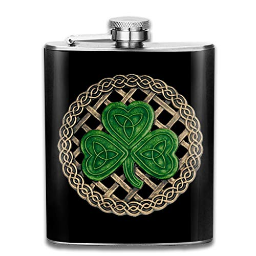 TPSXXY Shamrock Lattice and Celtic Knots On Black Stainless Steel 7 Oz Hip Flask Men Women Silver Alcohol Whiskey ()