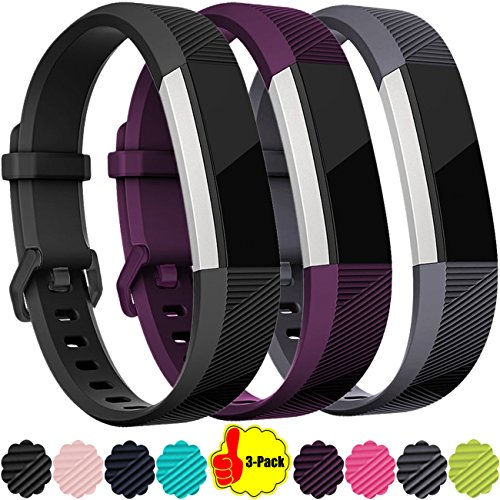 For Fitbit Alta HR Bands, 3-Pack Replacement Accessory Wristband for Fitbit Alta HR, Small, Black, Plum, - Alta 3
