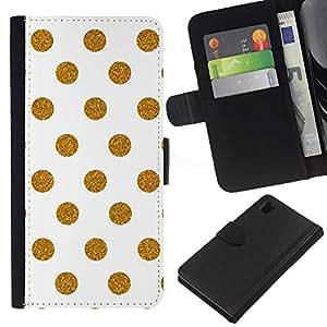 EJOY---La carpeta del tirón la caja de cuero de alta calidad de la PU Caso protector / Sony Xperia Z1 L39 / --De oro del lunar Modelo del fondo