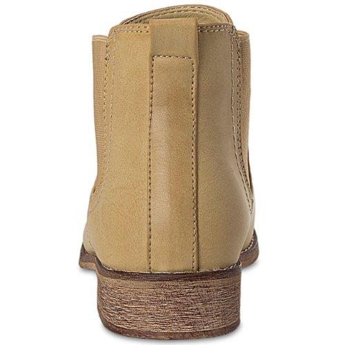 CASPAR Womens Simple Classic Short Boots / Chelsea Boots - SBO025 Camel DXnybTqRRl