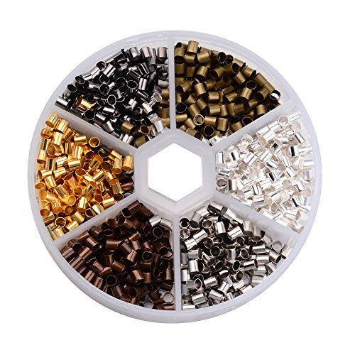 Pandahall 1200pcs/box 6 Colors Antique Bronze & Red Copper & Golden & Silver & Platinum & Black Column Brass Crimp Beads Tube Crimp&End Beads (Clasp Box Strand Sterling 3)