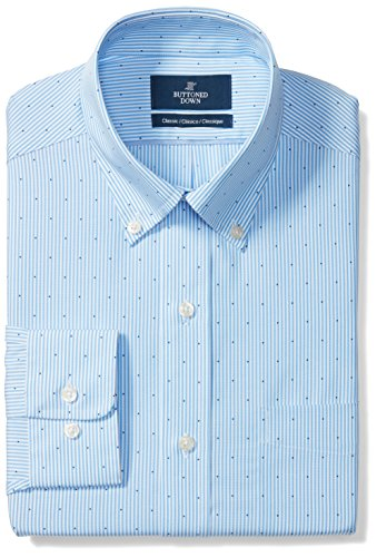(BUTTONED DOWN Men's Classic Fit Button-Collar Pattern Non-Iron Dress Shirt, Light Blue Stripe Dot, 15.5