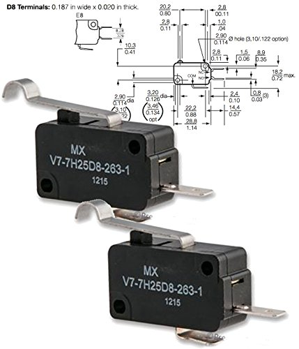 - HONEYWELL S&C V7-7H25D8-263-1 (Pack of 2) MICRO SWITCH, ROLLER LEVER, SPST-NO