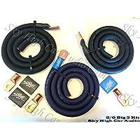 Sky High Oversized 2/0 Gauge AWG Big 3 Upgrade BLUE/BLACK Electrical Wiring Kit