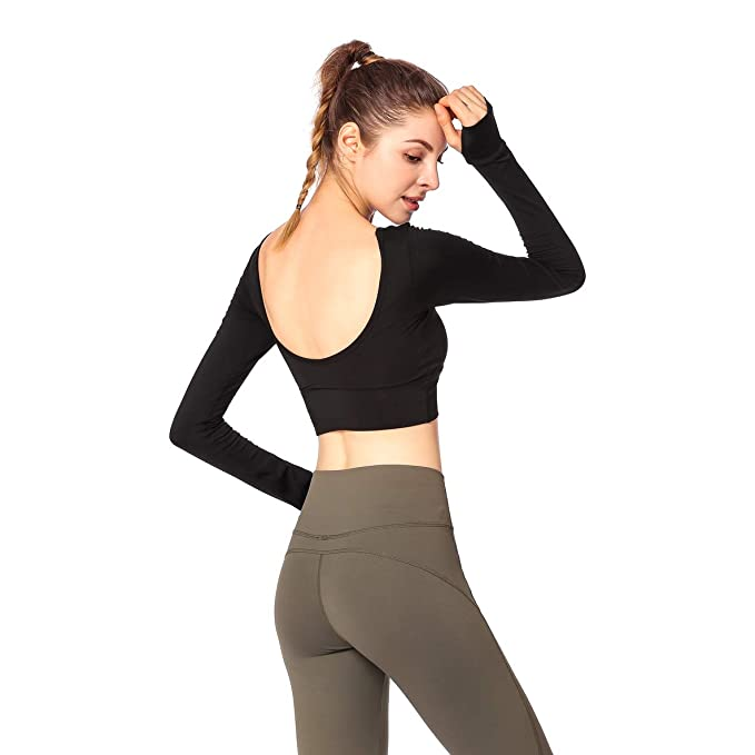 Camiseta Deportiva Mujer Mangas Larga Deportiva Tops de Yoga con Sujetador Incorporado Gimnasio Camiseta Interior,