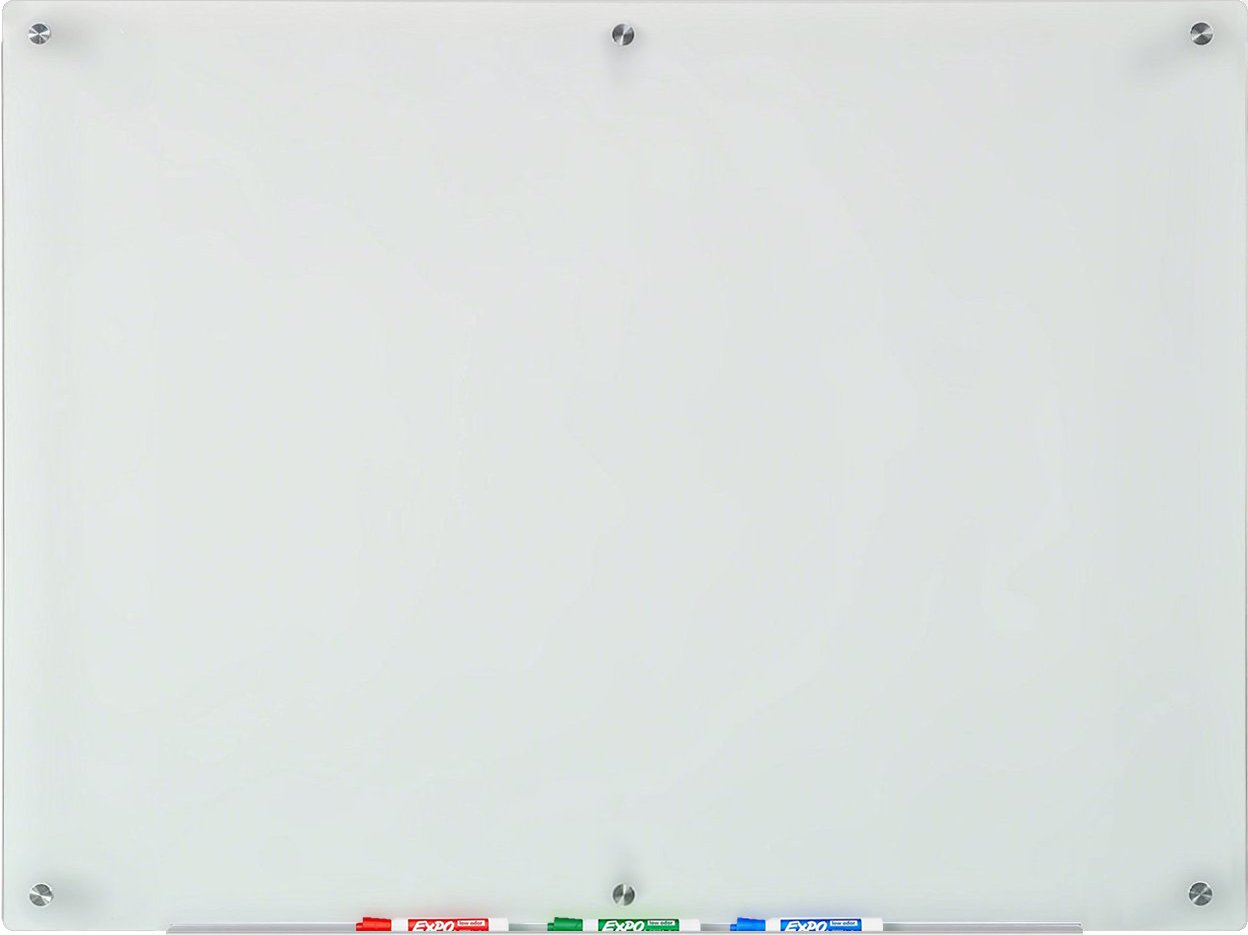 Frosted Glass Dry-Erase Board - 35 1/2'' x 47 1/4'' - Includes Board and Aluminum Marker Tray