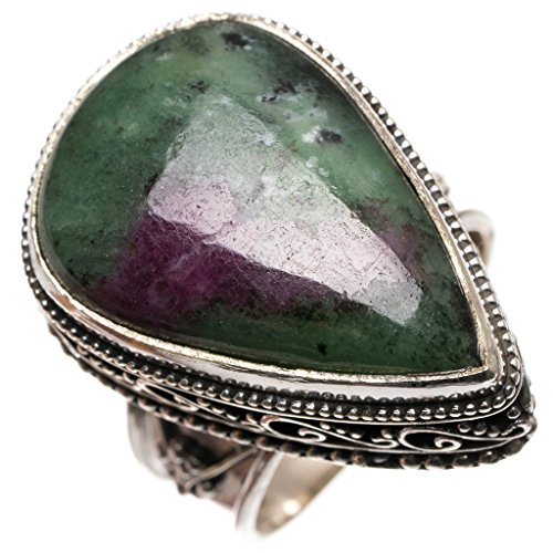 (Natural Ruby Zoisite Antique Design Handmade Indian 925 Sterling Silver Ring, Size 9.25 S3237)
