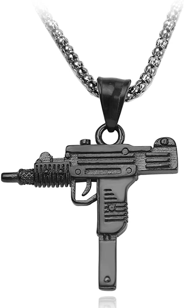 Mens necklace Shape Pendant Necklace For Women And Men Fashion Punk Jewelry 3 Colors Pistol Necklace Gothic Charms Accessories