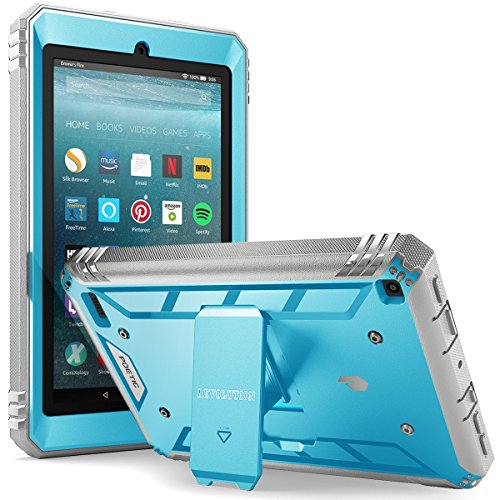 (Poetic Revolution Fire 7 2017 Rugged Case Cover With Hybrid Heavy Duty Protection and Built-In Screen Protector and KickStand for Amazon Fire 7 2017 (7th Generation, 2017 Release))