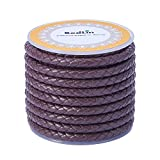 5mm round leather cord - PandaHall 1 Roll 5mm Round Folded Bolo Fold Braided Leather Cords for Necklace Bracelet Jewelry 4m per Roll Brown