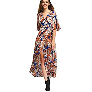 Milumia Women's Boho Deep V Neck Floral Chiffon Wrap Split Long Maxi Dress